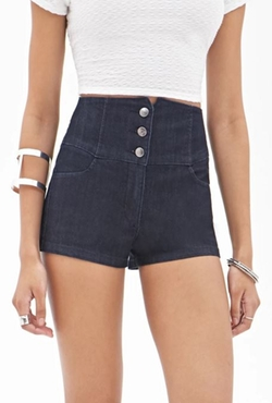 Forever 21 - High-Waisted Denim Shorts