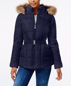 Rampage  - Faux-Fur-Trim Hooded Belted Puffer Coat