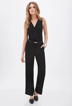 Forever21 - Contemporary Pleated Button-Front Jumpsuit