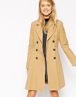 Asos - Double Breast Button Detail Skater Coat
