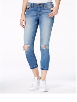 Dittos - Cropped Ripped Medium Blue Wash Skinny Jeans