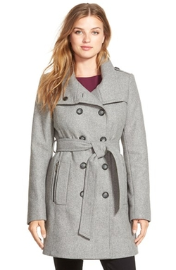 DKNY - Double Breasted Wool Blend Trench Coat