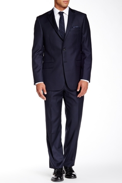 Hickey Freeman - Navy Pinstripe Two Button Notch Lapel Wool Suit