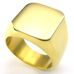 Konov Jewelry -  Stainless Steel Signet Ring