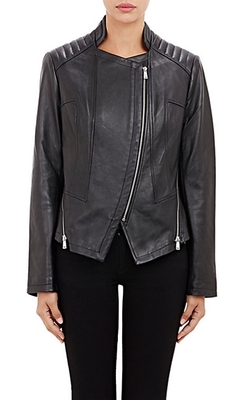 Barneys New York - Zip Embellished Moto Jacket