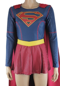 OEM - Supergirl Costume Halloween Puffy Paint Jumpsuit with Cape