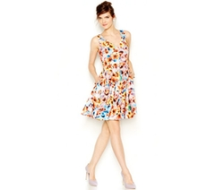 Betsey Johnson  - Floral-Print Scuba Fit & Flare Dress