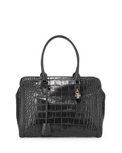 Alexander McQueen - Croc-Embossed Padlock Satchel Bag