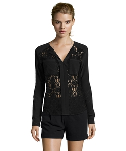Rebecca Taylor - Silk And Lace Long Sleeve Blouse