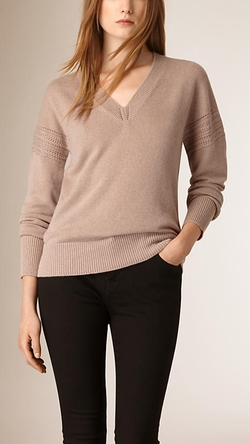 Burberry - Cashmere Cotton Deep V-Neck Sweater
