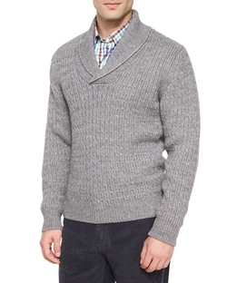 Peter Millar - Shawl-Collar Cable-Knit Pullover Sweater, Charcoal