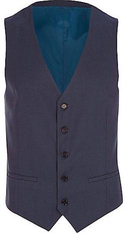 River Island - Mens Dark Blue Single Breasted Vest