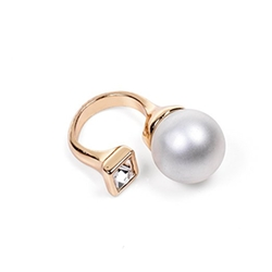 Kloud City  - Simple Open Big White Pearl Cuff Rings