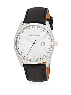 English Laundry  - Stainless Steel Black Leather Strap Watch