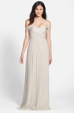 Amsale  - Convertible Crinkled Silk Chiffon Gown