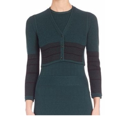 Narciso Rodriguez - Linear Grid Cropped Wool & Silk Cardigan