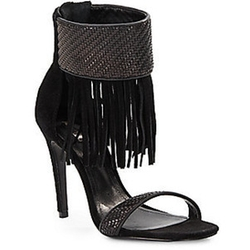 Schutz - Tekinha Woven Leather & Suede Fringed Ankle Cuff Sandals