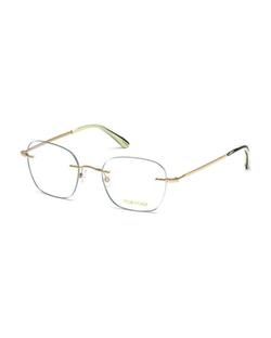 Tom Ford - Shiny Metal Wood Effect Eyeglasses