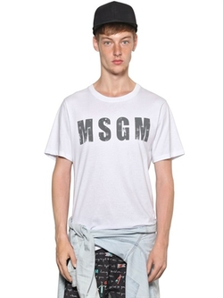 MSGM - Logo Printed Cotton T-Shirt