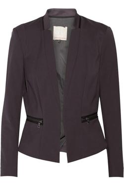 Rebecca Taylor  - Zip Detailed Cotton Blend Blazer