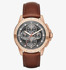 Michael Kors - Ryker Rose Gold-Tone And Leather Watch