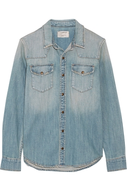 Current/elliott - Distressed Stretch-Denim Shirt