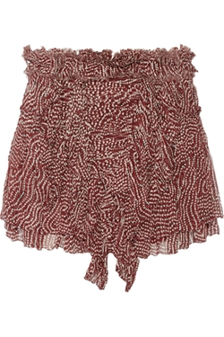 Isabel Marant  - Melissa Printed Silk Plssé Mini Skirt
