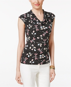 Anne Klein  - Cowl-Neck Printed Top