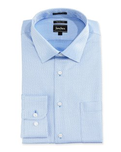 Neiman Marcus - Regular-Finish Trim-Fit Textured Dress Shirt