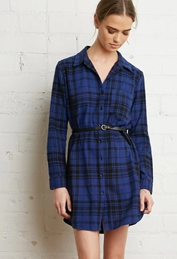Forever21 - Belted Plaid Shirt Dress