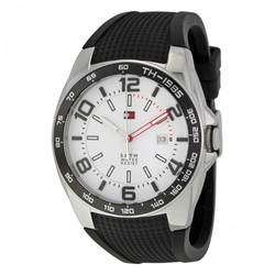 Tommy Hilfiger  - White Dial Black Rubber Men