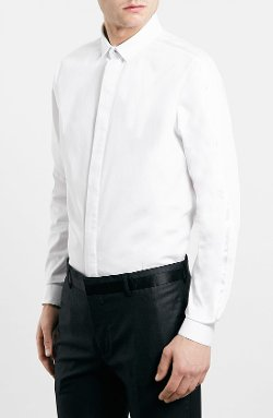 Topman - Slim Fit White Tuxedo Dress Shirt