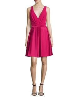 J. Mendel - V-Neck Fit-&-Flare Dress