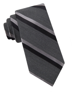 Black Brown 1826 - Double Stripe Wool And Silk Tie