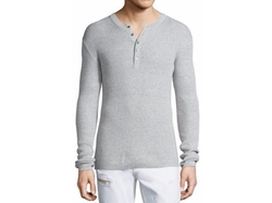 Michael Kors - Ribbed Long-Sleeve Henley Shirt