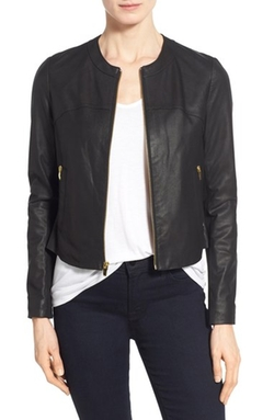 Via Spiga  - Lambskin Leather & Knit Zip Front Collarless Jacket