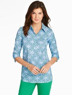 Talbots - Diamond Paisley Popover Shirt