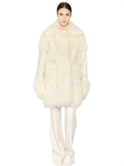 Stella McCartney - Faux Fur & Jacquard Coat