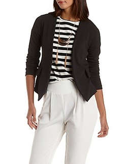 Charlotte Russe - Collarless Long Sleeve Blazer
