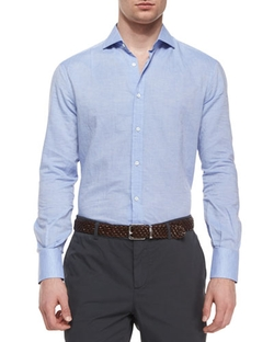 Brunello Cucinelli - Solid Long-Sleeve Sport Shirt
