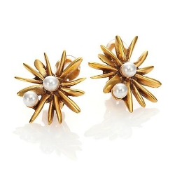 Oscar De La Renta - Starburst Faux Pearl Clip-On Button Earrings