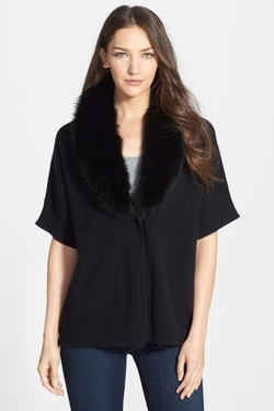 Sofia Cashmere - Genuine Fox Fur Collar Cashmere Cardigan