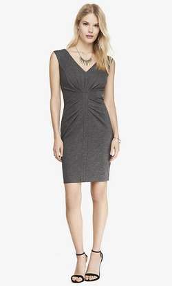 Express - Ponte Knit V-Neck Ruched Sheath Dress