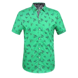 SSLR - Straight Fit Shark Prints Shirt