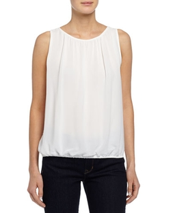 Max Studio -  Pleated Scoop-Neck Sleeveless Crepe Blouse