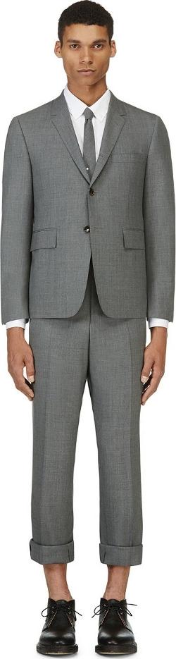 Thom Browne - Grey Wool Crosshatched Suit