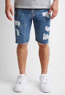 Forever 21 - Distressed Paint-Flecked Denim Shorts