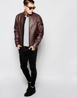 Diesel - Leather Jacket L-Monike Biker