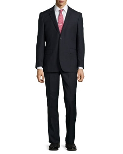Neiman Marcus - Two-Piece Tiny Grid Wool Suit