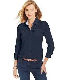 Tommy Hilfiger  - Long-Sleeve Contrast-Trim Button-Down Shirt